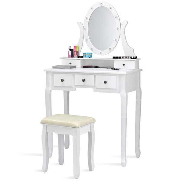 Costway White Wood Vanity Set Makeup, Home Depot Makeup Vanity Mirror With Lights