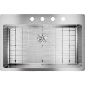 Crosstown Drop-in/Undermount Stainless Steel 33 in. 4-Hole Single Bowl Kitchen Sink with Bottom Grid