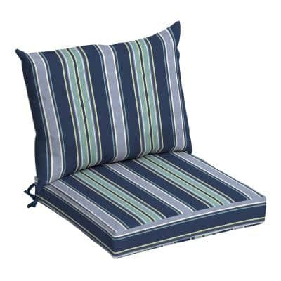 21 in. x 17 in. 2-Piece Deep Seating Outdoor Lounge Chair Cushion in Sapphire Aurora Stripe