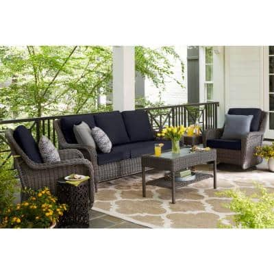 Cambridge Gray Wicker Outdoor Patio Sofa with CushionGuard Midnight Navy Blue Cushions