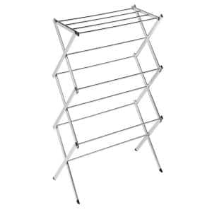 41.5 in. H x 22.5 in. L x 15 in. W Commercial Chrome Accordion Drying Rack 18-Linear Feet
