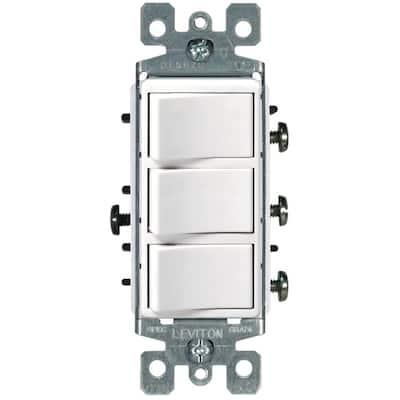 Decora 15 Amp 3-Rocker Combination Switch, White