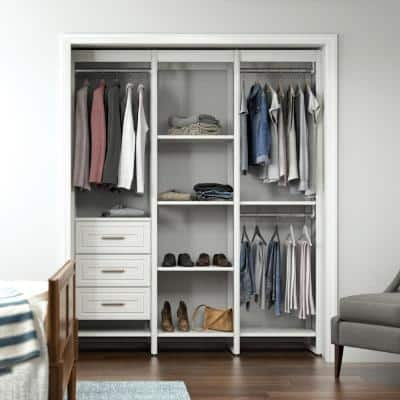 68.5 in. W White Adjustable Tower Wood Closet System with 3 Drawers and 11 Shelves