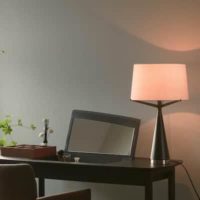 Levon 24 in. Dark Bronze Table Lamp with White Linen Shade