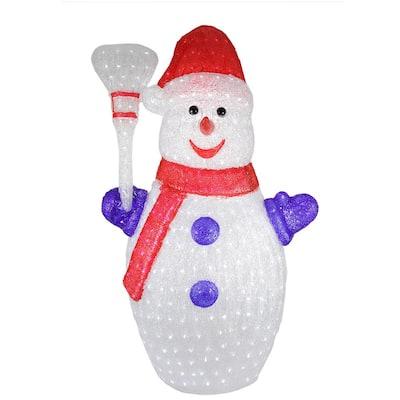 4 ft. Pre-lit Commercial Grade Acrylic Snowman Christmas Outdoor Decoration - Polar White LED Lights