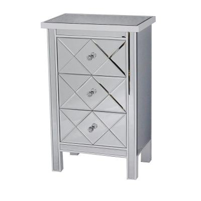Shelly Assembled 20 in. x 20 in. x 13 in. Antique White Wood Accent Storage Cabinet with 3 Mirrored Drawers