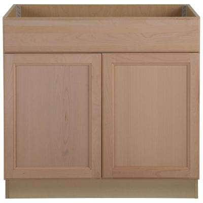 Easthaven Shaker Assembled 36x34.5x24 in. Frameless Sink Base Cabinet with False Drawer Front in Unfinished Beech