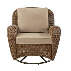 Beacon Park Brown Wicker Outdoor Patio Swivel Lounge Chair with Sunbrella Beige Tan Cushions