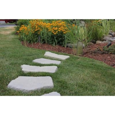 20 in. and 21 in. Irregular Concrete Blue Variegated Stepping Stones Kit (20-Piece)