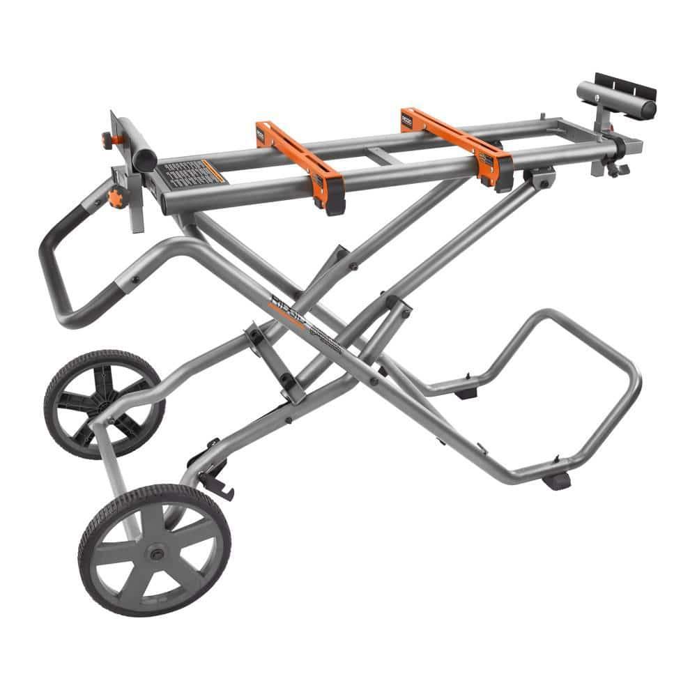 Miter Saw Stand 77 in Universal Tool Mount Solid Rubber Wheels Twist Locks
