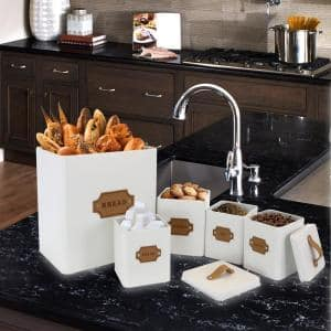5-Piece Metal Cannister Set with Metal Tops