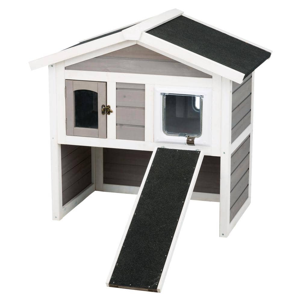 Trixie 30 5 In X 21 5 In X 29 5 In Insulated Cat Home In Gray White 44115 The Home Depot