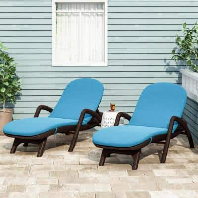Primrose 28 in. x 36.0 in. Outdoor Chaise Lounge Cushion in Blue (Set of 2)