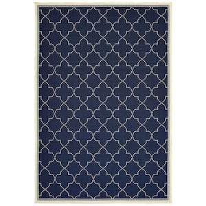 Sienna Navy/Ivory 7 ft. x 10 ft. Quatrefoil Indoor/Outdoor Area Rug