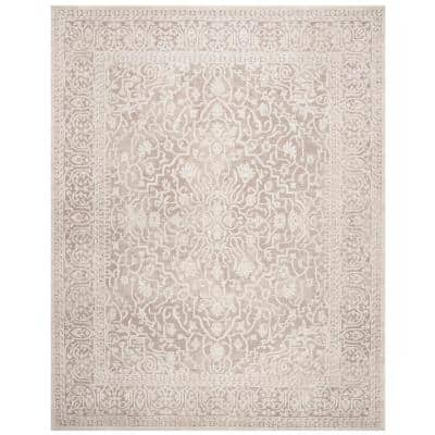 Reflection Beige/Cream 8 ft. x 10 ft. Distressed Floral Area Rug