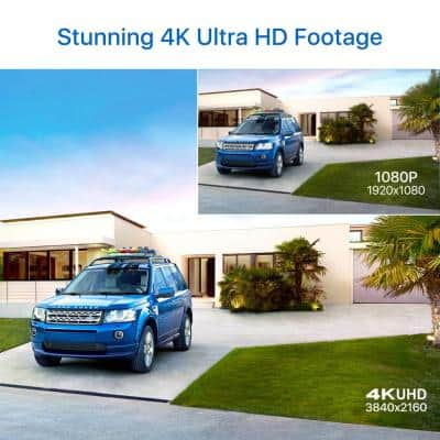 4K 8MP Ultra HD Wired Outdoor Security Bullet Camera with 100 ft. IR Night Vision, IP67 Weatherproof
