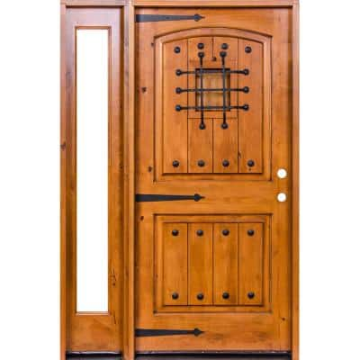 44 in. x 80 in. Mediterranean Unfinished Knotty Alder Arch Right-Hand Left Full Sidelite Clear Glass Prehung Front Door