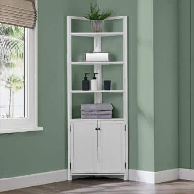 Dover 25 in. W x 18 in. D x 68 in. H Free-Standing Linen Cabinet with 2 Doors and Open Shelving in White