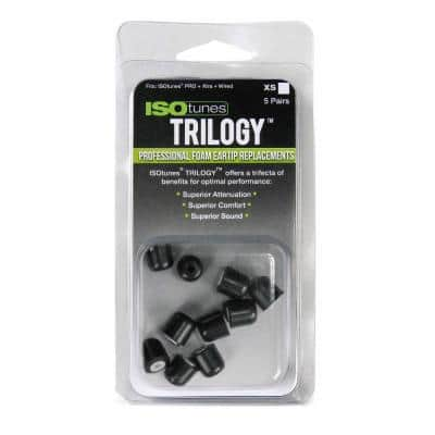 TRILOGY Extra Small Foam Replacement Hearing Protection Eartips for ISOtunes FREE, PRO, XTRA & WIRED models, 5 Pair Pack