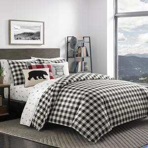 Mountain 3-Piece Black Plaid Cotton Full/Queen Duvet Cover Set