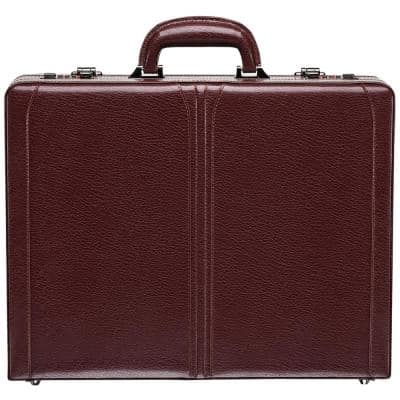 Business Collection Burgundy Leather Expandable Attache Case 17.75 in. W x 4.5 in. D x 14 in. H