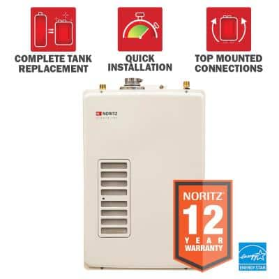 EZTR40 40 Gal Tank Replacement Min 0.5 GPM Max 6.6 GPM High Efficiency Natural Gas Tankless Water Heater Kit