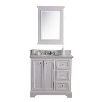 Derby 36 in. W x 34 in. H Bath Vanity in White with Marble Vanity Top in Carrara White with White Basin and Mirror