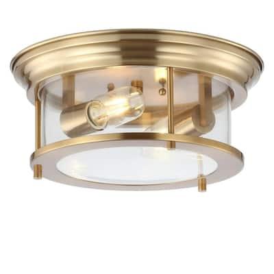 Lauren Brass Gold 13.25 in. Metal/Glass LED Flushmount