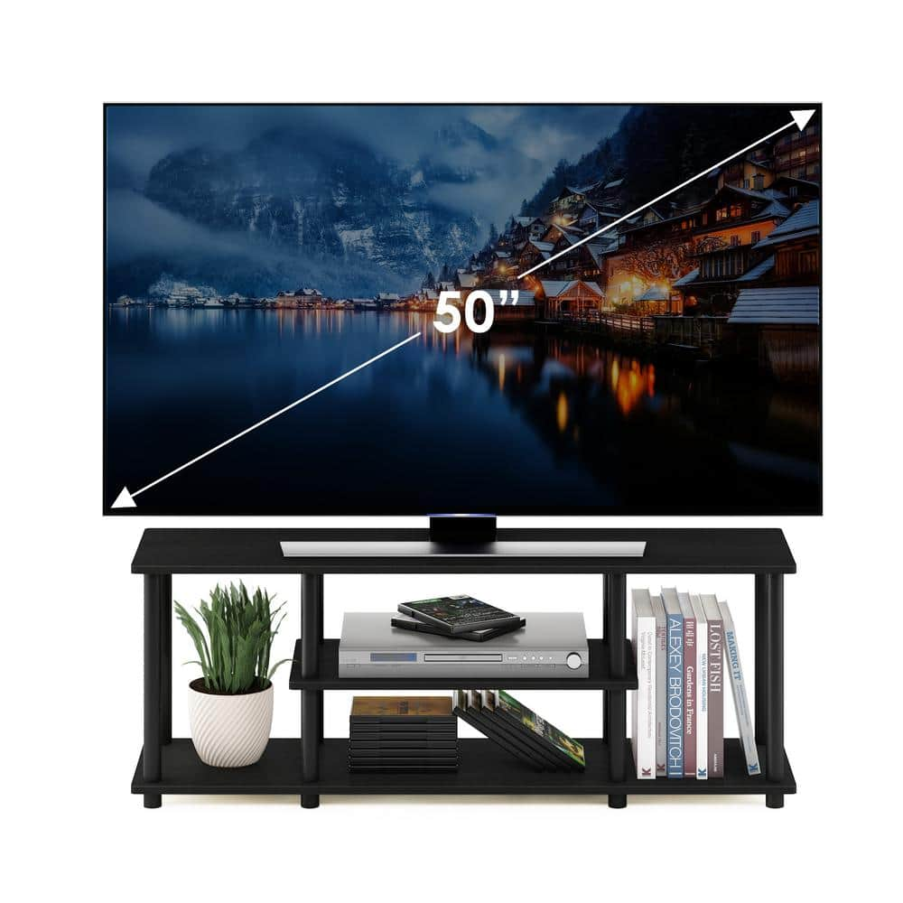 Furinno Turn N Tube 44 In Walnut And Black Particle Board Tv Stand Fits Tvs Up To 55 In With Cable Management 12250r1wn Bk The Home Depot