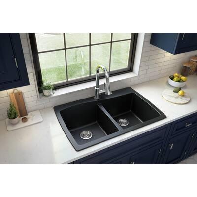 Drop-In Quartz Composite 34 in. 1-Hole 50/50 Double Bowl Kitchen Sink in Black