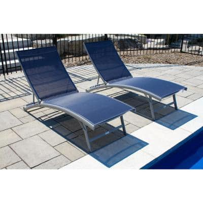 Clearwater Reclining Aluminum Outdoor Lounge Chair in Navy Steel (2-Pack)