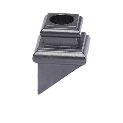 Round Hole 1.25 in. Cast Iron Angled Shoe Baluster Shoe Satin Black