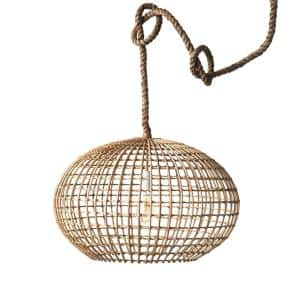 Woven Roots 1-Light Brown Round Wicker Pendant with Thick Rope Cord