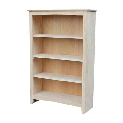 48 in. Unfinished Wood 4-shelf Standard Bookcase with Adjustable Shelves