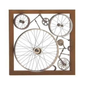 36 in. x 36 in. Industrial Gray Square Wheel Gear and Axle Wall decor