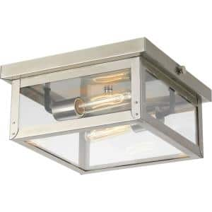 Union Square Collection 2-Light Stainless Steel Clear Flat Glass Farmhouse Outdoor Close-to-Ceiling Light
