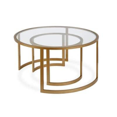 Mitera 2-Piece 36 in. Brass Medium Round Glass Coffee Table Set with Nesting Tables