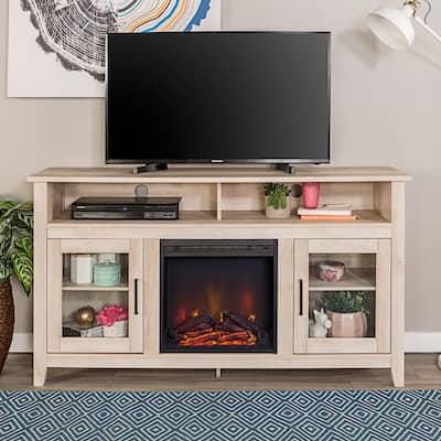 Modern Farmhouse Tall Fireplace TV Stand - White Oak