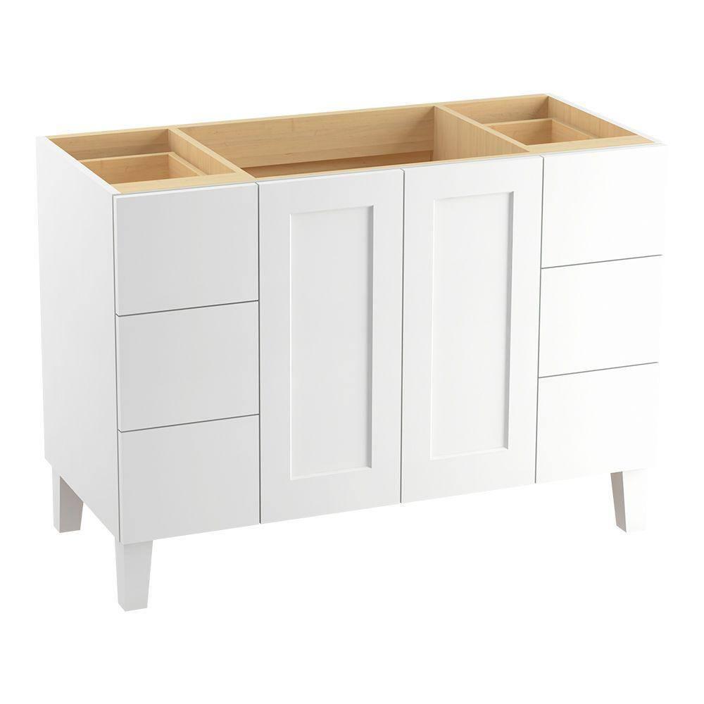 Kohler Poplin 48 In W Bath Vanity Cabinet In Linen White 99535 Lgsd 1wa The Home Depot