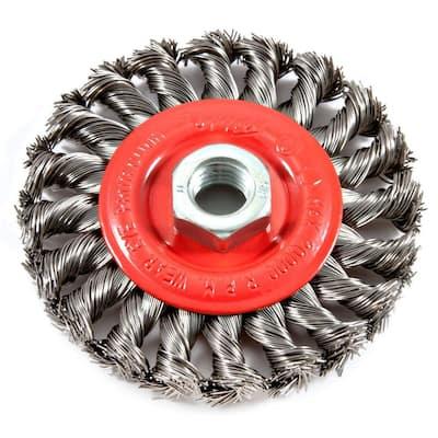 4 in. x 5/8 in.-11 Threaded Arbor Twist Knot Wire Wheel Brush