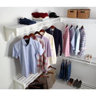 Walk-in 30 ft. Steel Closet Kit with 5-Expandable Shelf and Rod Units in White with 4 End Brackets