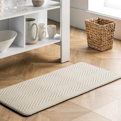 Casual Herringbone Anti Fatigue Kitchen or Laundry Room Beige 20 in. x 42 in. Indoor Comfort Mat