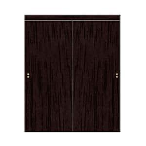48 in. x 80 in. Smooth Flush Solid Core Espresso MDF Interior Closet Sliding Door with Matching Trim