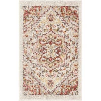 Mystic Stella Bohemian Medallion Distressed Natural 20 in. x 31. in Accent Door Mat