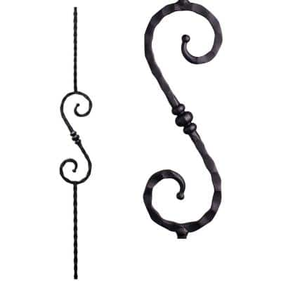 Tuscan Square Hammered 44 in. x 0.5625 in. Satin Black Single Knuckle Scroll Solid Wrought Iron Baluster