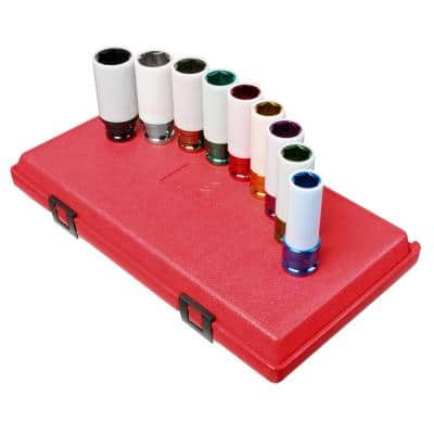 1/2 in. Drive Extra Thin Wall Wheel Protector Impact Socket Set (9-Piece)