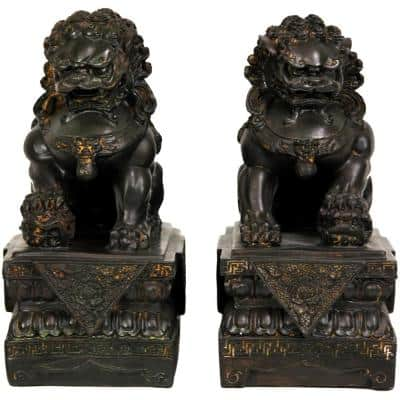 Oriental Furniture 9 in. Foo Dog Decorative Statues (Set of 2)
