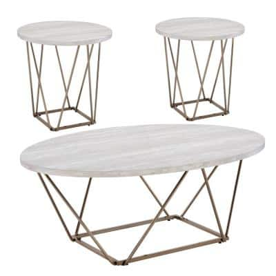 Rowyn 3-Piece 47 in. Off-White/Champagne Large Hexagon Wood Coffee Table Set