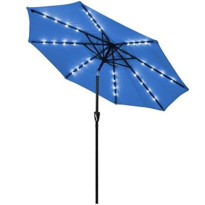 9 ft. Iron Market Solar Tilt Patio Umbrella in Blue