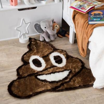 Poop Emoji 26 in. x 26 in. Brown Luxuriously Soft and Eco Friendly Round Faux Fur Kids Play Area Rug